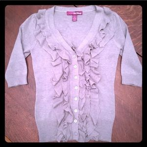 3 for $15 ruffle front button up gray cardigan